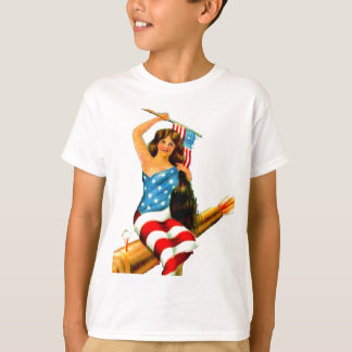 Pin Up Girl in Flag July 4th Vintage Postcard Art T-Shirt