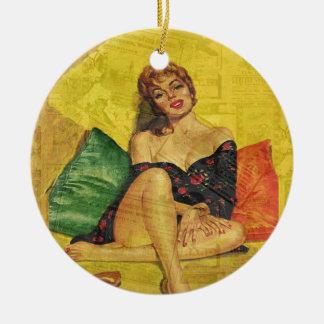 Pin up girl round ceramic ornament