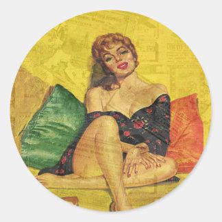 Pin up girl round sticker