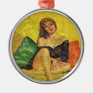 Pin up girl Silver-Colored round ornament