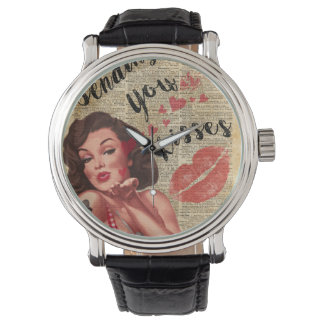 Pin-up Girl Vintage Art Sending Kisses With Love Watches