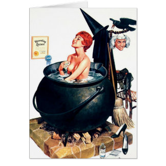 Pin-Up Girl Witch Halloween Greeting Card