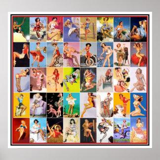 Pin up Girls Art Vintage Retro Print Collage 2