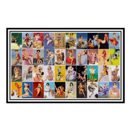 Pin up Girls Art Vintage Retro Print Collage Posters