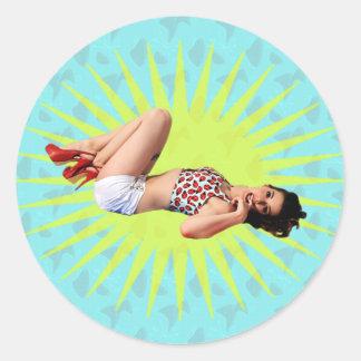 Pin Up Star Round Sticker