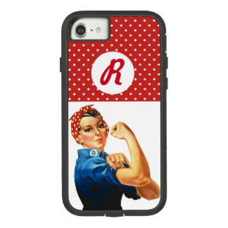 Pin Up Strong Woman Red Polka Dot Monogram iPhone Case-Mate Tough Extreme iPhone 8/7 Case