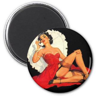 Pin Up Valentine Girl 2 Inch Round Magnet
