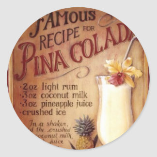 pina colada classic round sticker