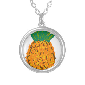 pina fruta pineapple silver plated necklace