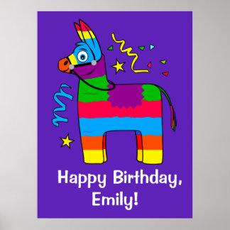 Pinata Happy Birthday Name Customizable Poster