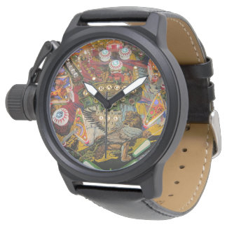 pinball face black leather watch