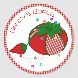 Pincushion with Red Gingham for Sewing World Round Sticker