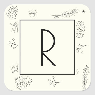 Pine and Berries Ivory Monogram Square Sticker