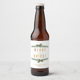 Pine and Berries, Merry and Bright Beer Bottle Label