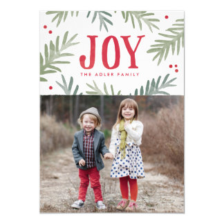 Pine and Berry Joy Holiday Photo Card