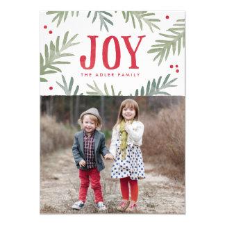 "Pine and Berry Joy Holiday Photo Card 5"" X 7"" Invitation Card"