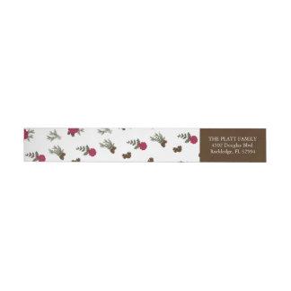 Pine and Poinsettias Christmas Address Label Wraparound Return Address Label