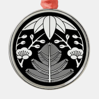 Pine bamboo ume Silver-Colored round ornament