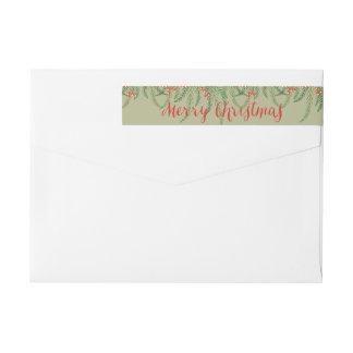 Pine & Berries Christmas Return Address Wraparound Return Address Label