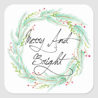 Pine & Berry   Watercolor Holiday Square Sticker