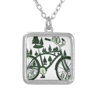 Pine Bike Silver Plated Necklace