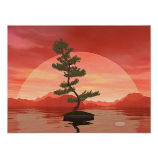 Pine bonsai - 3D render Poster