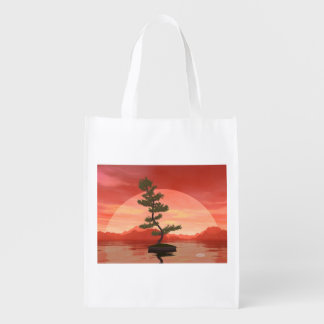 Pine bonsai - 3D render Reusable Grocery Bag