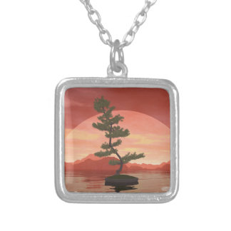 Pine bonsai - 3D render Silver Plated Necklace