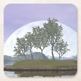 Pine bonsai - 3D render Square Paper Coaster