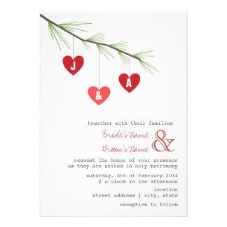 Pine Bough Hearts Wedding Invitation