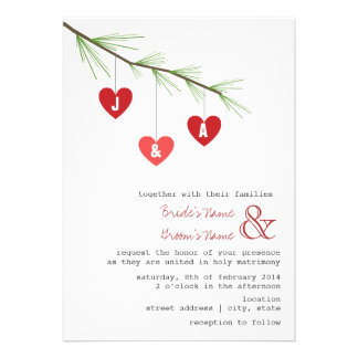 Pine Bough Hearts Wedding Invitation