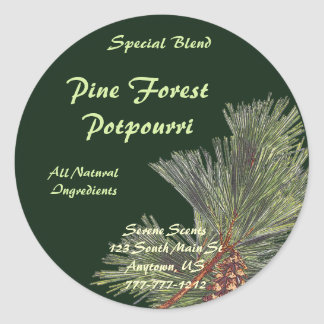 Pine Bough on Forest Green Classic Round Sticker
