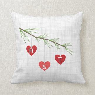 Pine Bough & Red Hearts Monogram Valentine Pillow