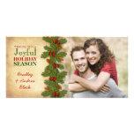 Pine Boughs Holly Berries Christmas Xmas Photocard Photo Greeting Card