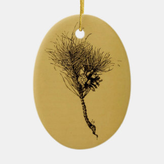 pine branch ceramic ornament