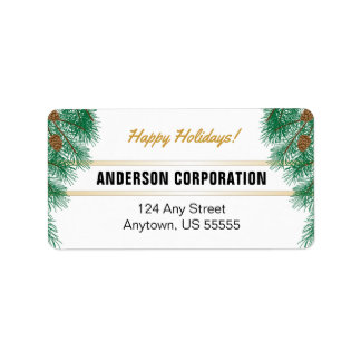 Pine Branches & Pine Cones Happy Holidays Label