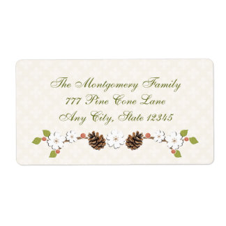Pine Cone and Flower Laurel and Berries Shipping Label