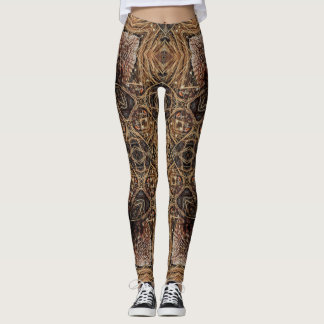Pine Cone and Grass Geometric Leggings