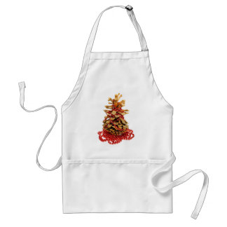 Pine cone Christmas tree with red bead string Adult Apron