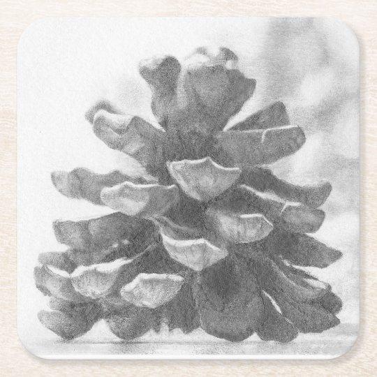 Pine Cone Coaster, Nature drawing, Pine Cone Art. Square Paper Coaster