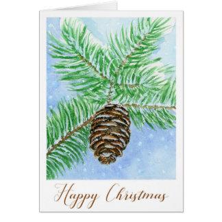 Pine Cone Happy Christmas Watercolour Card