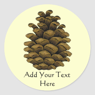Pine cone Illustration Round Sticker