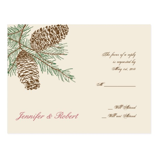 Pine Cone Nature on Cream Wedding RSVP Postcard
