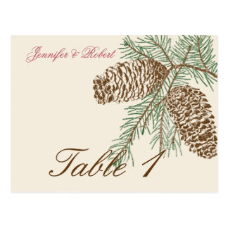 Pine Cone Nature on Cream Wedding Table Number Post Cards