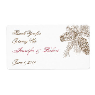 Pine Cone Nature Wedding Water Bottle Label Shipping Label
