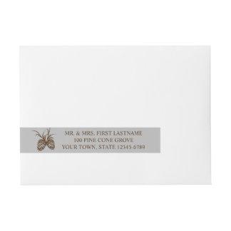 Pine Cone Silhouette Silver Grey and Brown Address Wraparound Address Label