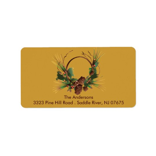Pine Cone Wreath Return Address Label