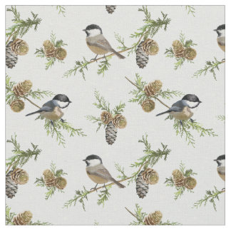 Pine cones and birds Christmas pattern Fabric