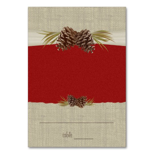 Pine Cones and Burlap Red Seating Card