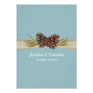 Pine Cones and Burlap Winter Blue Wedding Card